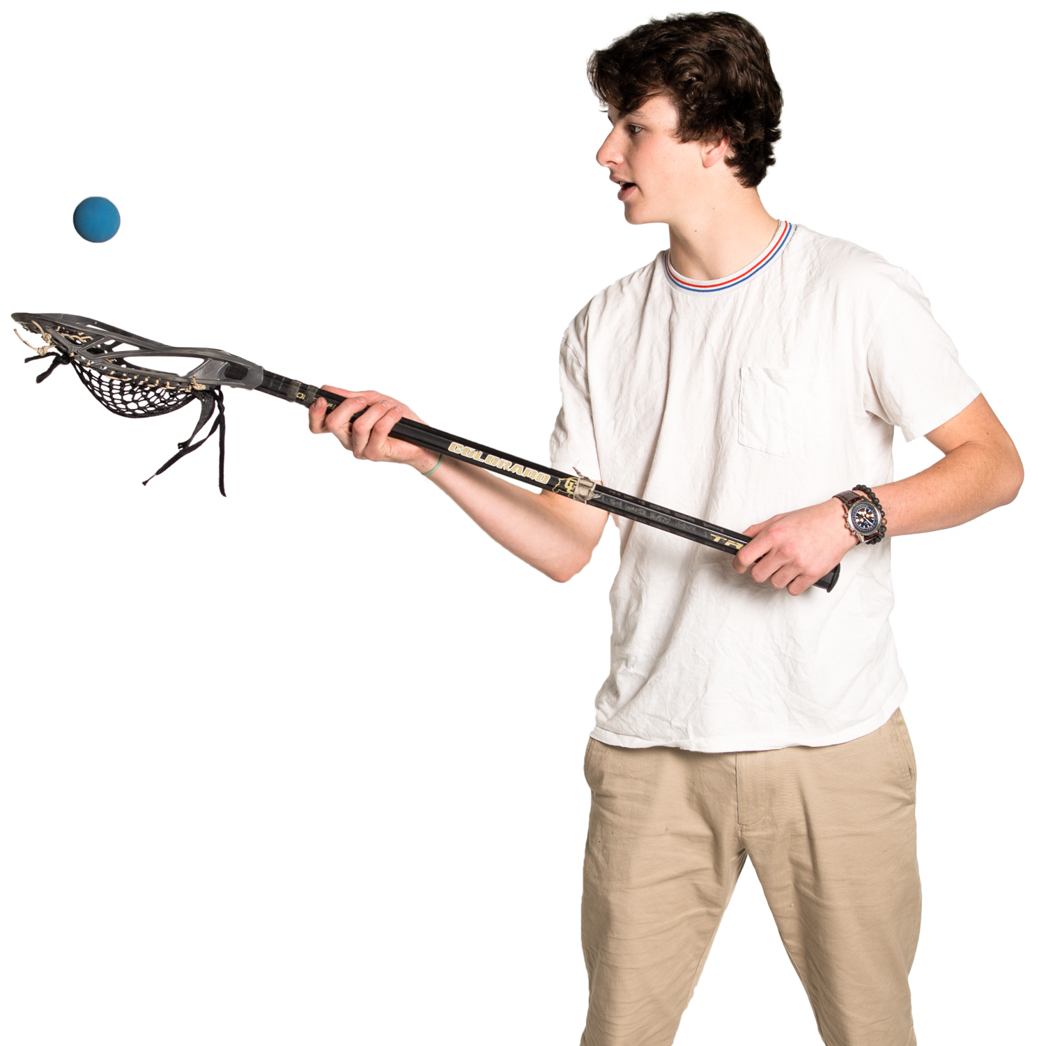 Colin, high school student with a lacrosse stick
